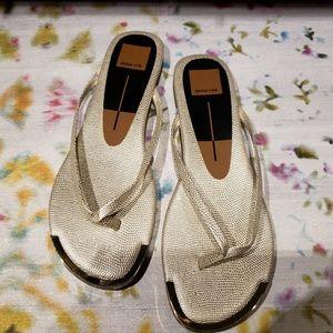 DOLCE VITA Pearl Gold Metallic Thong Sandal Sz 8